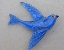 A  Beautiful Blue Love Bird~ Swallow ~ Lucite Pin / Brooch.