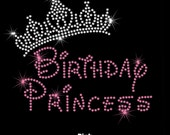 "7.5"" Birthday Princess Tiara crown iron on rhinestone transfer applique patch Disney font You choose colors"