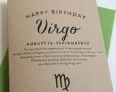 Astrology Birthday Card - Letterpress - Virgo