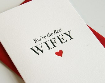 Letterpress Valentine's Day card for wife - Anniversary card - Best Wife