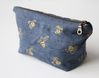 Small Traveler Pouch - Blue Honeybees