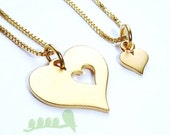 Mother daughter necklaces -Gold Filled Heart necklace - Heart charm necklace - Cutout heart charms - 2 necklaces- 2 left