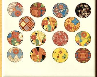 Vintage Kimono Circles Ceramic Decals, Glass Fusing Decals, Enamel Decals