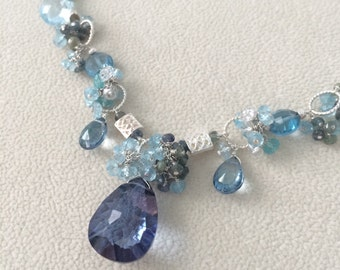 Semiprecious Gemstone Necklace in Sterling Silver with Apatite, Blue Sapphire, Blue Topaz, Natural Topaz and Mystic Tanzanite Blue Quartz