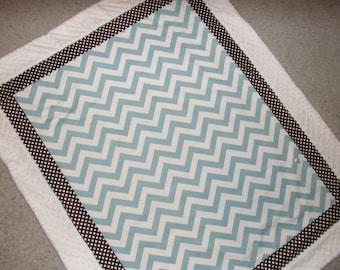 Baby blanket Cream, Brown and mist blue chevron minky dot