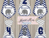 Personalized  Baby Boy Tie Monthly Stickers Milestone Bodysuit Elephant Navy Blue Gray Tie Stickers Month Sticker Photo Prop Gift