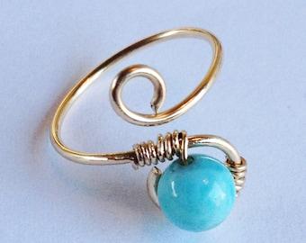 Larimar Ring   Larimar Gemstone   Larimar 14K Gold Filled Ring   Larimar Jewelry   14K Gold Filled Ring