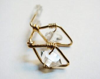 Herkimer Diamond Earrings    Herkimer Earrings    Herkimer Post Earring   14K Gold Filled Studs   April Birthstone  April Birthday