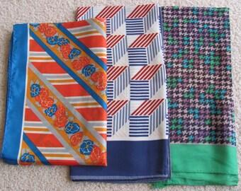 Lot of 3 Vintage Ladies Acetate Fashion Scarf Scarves  - (#1)