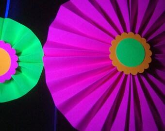 Black light neon paper rosette medallions