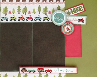 12x12 2 Page Scrapbook Layout Kit Camping