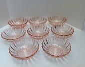 Eight Hocking Glass Company Pink Fortune Berry Bowls 1937 - 1938