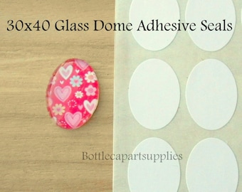 30x40mm CLEAR Oval Double Adhesive Easy INSTANT Sticker Seals for Glass Domes Photo Jewelry. Alternative to Resin and Glaze 2 sided Stickers