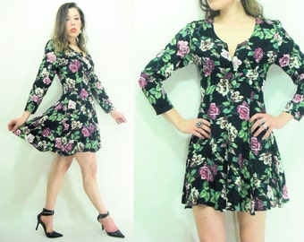80's 90's Floral Skater Dress Vintage BOHO Floral Rayon Flutter Skirt Mini Dress / Long Sleeve / Button down Front