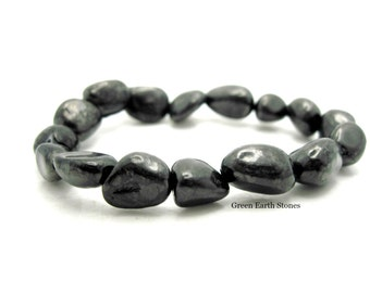 Shungite Nugget Stretch Bracelet with Pouch, Black, Russia, Crystal Healing,
