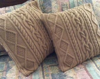 SUMMER SALE: Lace Chunky Cable Pillow-cover, fits 18x18 pillow