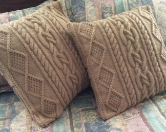 SALE: Lace Chunky Cable Pillow-cover, fits 18x18 pillow