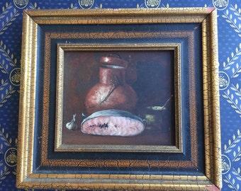 Vintage painting of copper pot & fruit