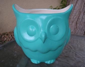 Stoutly Wise Owl Candy Dish/Vase/Planter Turquoise