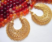 6 gold earring  chandeliers ethnic crescent metal jewelry findings muliti loop moon shape jewelry component 38mm x 35mm