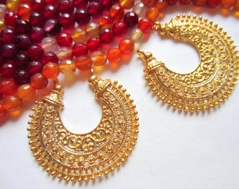 6 gold earring  chandeliers ethnic  crescent metal jewelry findings muliti loop moon shape jewelry component 38mm x 35mm (X1),