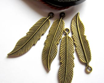 8 Feather charms antique bronze pendants 45mm x 11m jewelry making supplies sp071