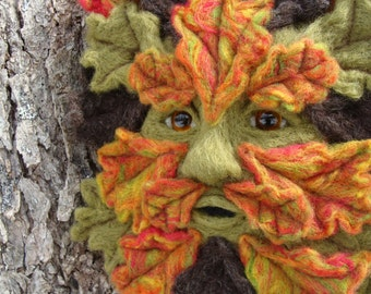 Needle Felted One of a kind Autumn Gargoyle or Green Man Soft Sculpture by Bella McBride Greenman or Hunky Punk