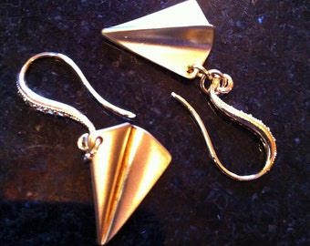 Gold Paper Airplane Earrings Paperman with French Wires by LauriJon Studio City™