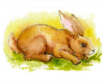 Bunny painting, Watercolor Painting, bunny rabbit, 5 x 7 giclee print, brown bunny painting, easter bunny, Easter decor,