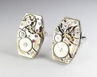 Steampunk Cufflinks Vintage Swiss Unique Segmented Watch Movement Mens Gear Cuff Links by Steampunk Vintage Design