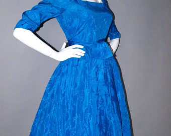 Vintage 50s Sapphire Blue Brocade Cocktail Party Dinner Full Circle Dress with Obi Sash B40 by dvgvintage