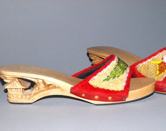 40s Repro Wooden Carved Heel Tiki  Red Velvet Beaded Floral Mules Slides Sandals Near Mint Condition VLV by dvgvintage