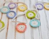 Crochet Circle Garland - Bunting - Festive Springtime Flower - Wedding Decoration - Nursery Decor