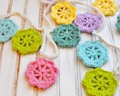 Crochet Floral Garland - Bunting - Colorful Springtime Flower - Wedding Decoration - Nursery Decor