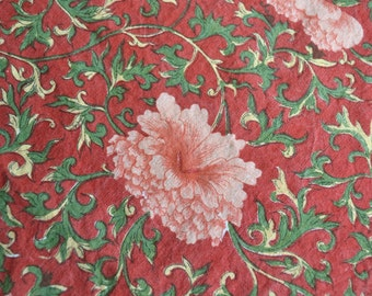 Vintage India Fabric - Pink Coral Vine Flowers on Rust - 60 x 88