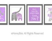 Purple Grey Wall Art Decor, Set of 4 Art Prints, Wall Posters, Room Decor, Children wall art, Kids room Decor