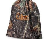 Boys Monogrammed Camo Woods Print Drawstring Backpack Gym Bag Personalized Cinch Sack