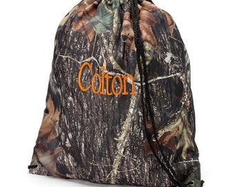 Monogrammed Camo Woods Print Drawstring Backpack Gym Bag Personalized Cinch Sack