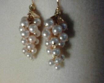Vintage 1980's Avon Pale Pink Grape Clip on Earrings