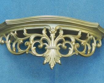 Vintage Massive Syroco Wood Gilt Gold Ornante Hollywood Regency Wall Hanging Shelf