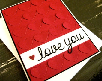 love you with fluttering hearts - Handmade Greeting Card