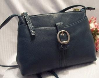 MINT Fabulous Stone Mountain Teal Pebbled Leather Shoulder Bag / Cross Body Bag -  Womens - Vintage