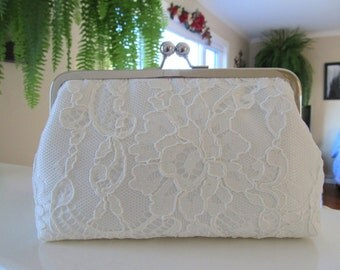 French Chantilly Lace Ivory Clutch,Bridal Accessories,Wedding Clutch,Bridal Clutch,Bags And Purses,Something Blue