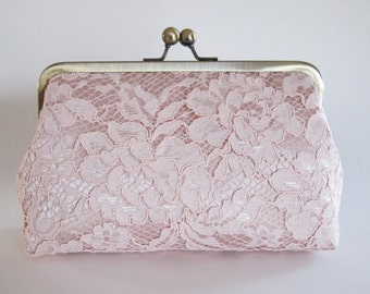 Blush Satin And Blush Floral Lace Clutch,Bridal Accessories,Bridesmaid Clutch,Wedding Clutch,Bridal Clutch,Bags And Purses,