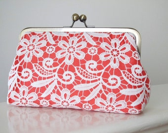 Silk And Guipure Lace Clutch,Coral Ivory Clutch,Bridal Accessories,Wedding Clutch,Bridal Clutch,Bridesmaid Clutches