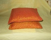 PILLOWS Set of 2, Orange With Gold Design, 12 Inches, Hand Made In Georgia,  Kids Car Pillows, , Bed, Rocker,
