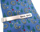 Tie Bar Clip - Sterling Silver Personalized Hand Stamped Father's Day Tie Clip