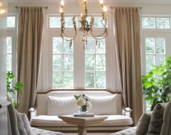 Natural color linen curtain panels, drapes, back tabs, rod pocket linen drapes, all colors available