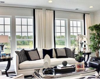 High end designer linen drapes, sold per panel, pinch pleats, French pleats off white black or choose your colors