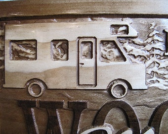 Personalized Family Name Custom Camp Camper RV Carved Wood Sign Plaque Cabin Est Family Name Wooden